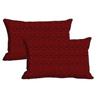 Red Pattern Set Of 2 Pc Digitally Printed Pillow Cover -Size(12x18)