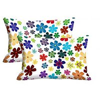 Multicolor Flower Set Of 2 Pc Digitally Printed Pillow Cover -Size(12x18)