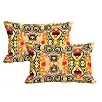 Beige Pattern Set Of 2 Pc Digitally Printed Pillow Cover -Size(12x18)