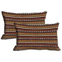 MeSleep Stripe Set Of 2 Pc Digitally Printed Pillow Cover -Size(12x18)