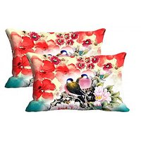 Love Birds Set Of 2 Pc Digitally Printed Pillow Cover -Size(12x18)