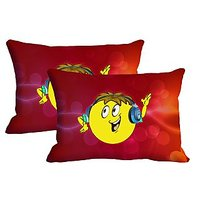 DJ Smiley Set Of 2 Pc Digitally Printed Pillow Cover -Size(12x18)