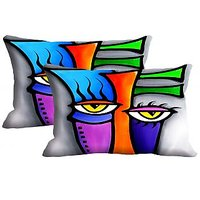 Abstract Face Set Of 2 Pc Digitally Printed Pillow Cover -Size(12x18)