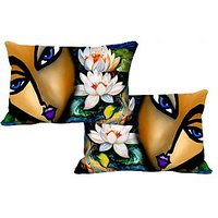 Lady Face Set Of 2 Pc Digitally Printed Pillow Cover -Size(12x18)