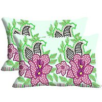 Flower Polka Dot Set Of 2 Pc Digitally Printed Pillow Cover -Size(12x18)