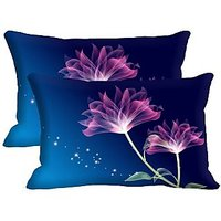 Pink Flower Set Of 2 Pc Digitally Printed Pillow Cover -Size(12x18)