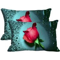 Rose Set Of 2 Pc Digitally Printed Pillow Cover -Size(12x18)