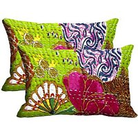 Embroidery Print Set Of 2 Pc Digitally Printed Pillow Cover -Size(12x18)