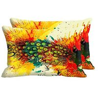 Peacock Feathers Set Of 2 Pc Digitally Printed Pillow Cover -Size(12x18)
