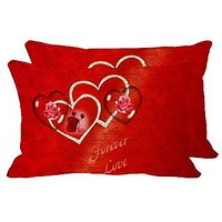 Forever Love Set Of 2 Pc Digitally Printed Pillow Cover -Size(12x18)