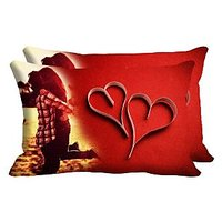 Hug Pair Heart Set Of 2 Pc Digitally Printed Pillow Cover -Size(12x18)