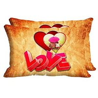Love Umbrella Set Of 2 Pc Digitally Printed Pillow Cover -Size(12x18)