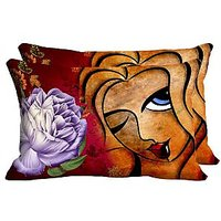 Winking Girl Set Of 2 Pc Digitally Printed Pillow Cover -Size(12x18)