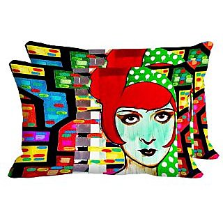Angry Girl Set Of 2 Pc Digitally Printed Pillow Cover -Size(12x18)