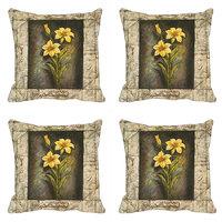 Frame Yellow Flower Digitally Printed Cushion Cover (12x12)