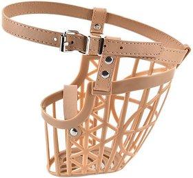 Tradesk High Quality Plastic Dogs Muzzle Basket Design Anti-biting Adjusting Straps Mask For Dog/Puppy (M) Medium Strips Dog Muzzle