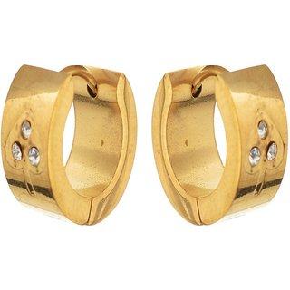 Heart Shape Gold Plated Stone Mens Bali Party Wear Studs Earrings