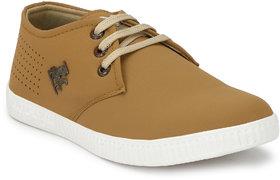 Dev Shoes Men Leather Tan Lace Up Trendy Sneaker