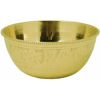 Handmade Pure Brass Puja Katori / Leaf Design Golden Bowl