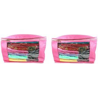 ADWITIYA Plain 10 Inch Ladies Large Non - Woven 2 Saree Cover - Keep upto 10 - 15 Saree each (Pink)