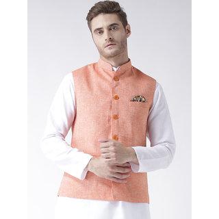Hangup Mens Linen Blend Orange Nehru Jacket