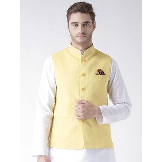 Hangup Mens Linen Blend Yellow Nehru Jacket