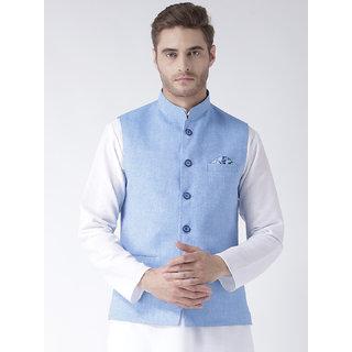Hangup Mens Linen Blend Blue Nehru Jacket
