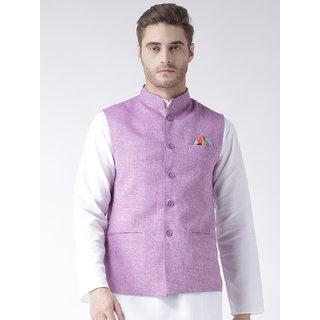 Hangup Mens Linen Blend Purple Nehru Jacket