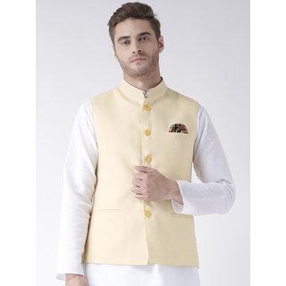 Hangup Mens Linen Blend Green Nehru Jacket