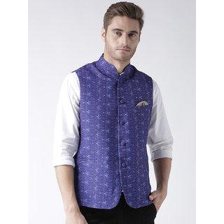 Hangup Mens Cotton Blend Multicolor Nehru Jacket
