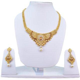 Fascraft Heavily Detailed Gold Plated V Shape Necklace Set