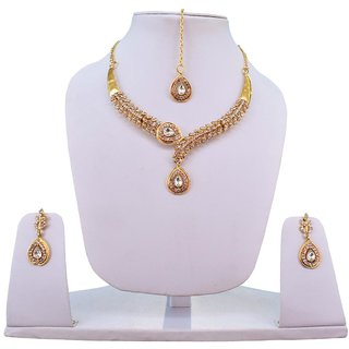 Fascraft Gold Plated Twin Necklace Set with Crystals and Mang Tika