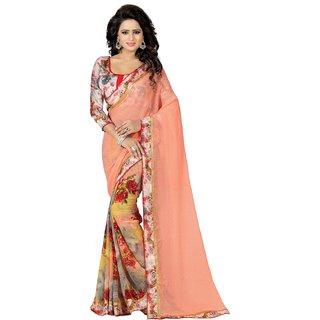 Butter Silk Fashion Orange Georgette Saree