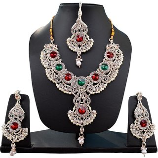 Fascraft Imperial Looking Rajwada Necklace Set with Mang Tika on gold finish