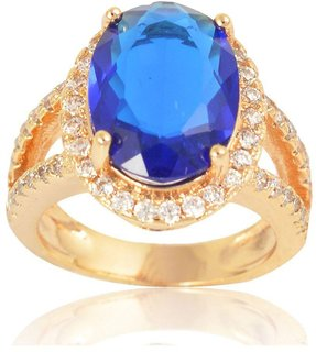 Sanaa Creations Gold Plated Alloy Blue Diamond Ring for Women