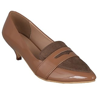 Flora Comfort Beige Pointed Belly Shoe For Women's