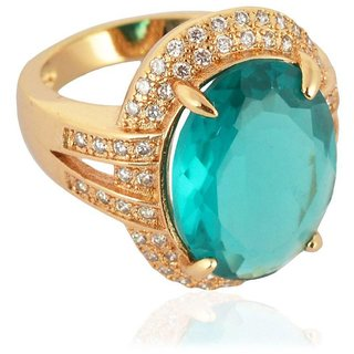 Sanaa Creations Gold Plated Turquoise Color Diamond Ring For Girl's And Women