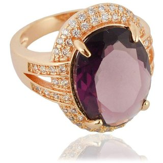 Sanaa Creations Gold Plated Purple Diamond Ring For Girl's And Women