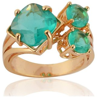 Sanaa Creations Gold Plated Alloy Turquoise color American Diamond Ring for Women