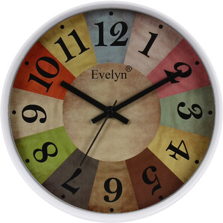 Evelyn Round Wall Clock With Glass For Home / Bedroom / Living Room / Kitchen Evc-031 (W)