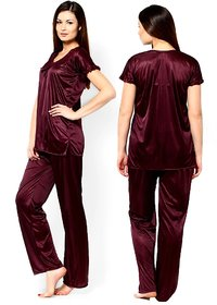Riya  Coffee-Chocolate colour Satin night suit,night wear for women