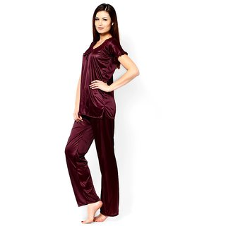 RamE Chockalate colour top and Pajama , Satin Night Suit  ,Night Dress