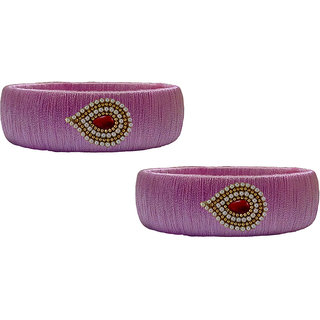 Handmade  Baby Pink Silk Thread Bangle Model 004