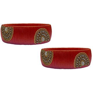 Handmade Red Silk  Thread Bangle Model 012