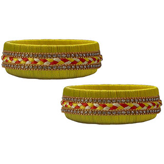 Handmade Yellow Silk  Thread Bangle Model 013