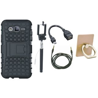 Motorola Moto C Plus Dual Protection Defender Back Case with Ring Stand Holder, Selfie Stick, OTG Cable and AUX Cable