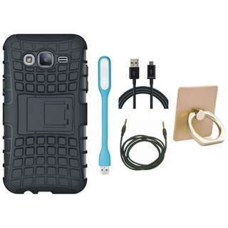 Samsung C7 Pro Defender Tough Hybrid Shockproof Cover with Ring Stand Holder, USB LED Light, USB Cable and AUX Cable