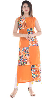 New Beautiful Designer Orange Colour Printed Kurti Pure Cotton For GirlsWomen