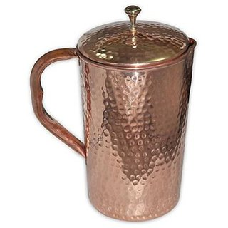 Copper Hammered Jug Pitcher Volume 2000 ML With Ayurveda And Healthy Benefits