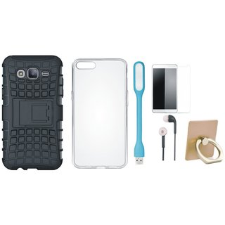 Motorola Moto C Plus Shockproof Tough Defender Cover with Ring Stand Holder, Silicon Back Cover, Tempered Glass, Earphones and USB LED Light